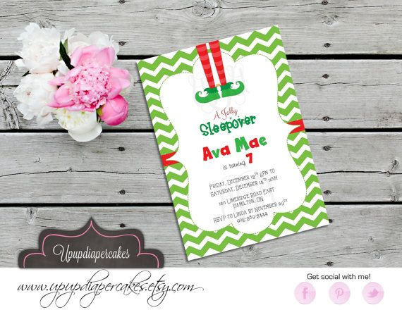 Christmas Party Invitation--Elf Feet Invite--Chevron--Birthday Invitation--Sleepover Invite--Printable Invite