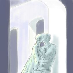 kiss絵7枚目♪月明かりで眠れない夜。睡眠薬代わりのキス♪
