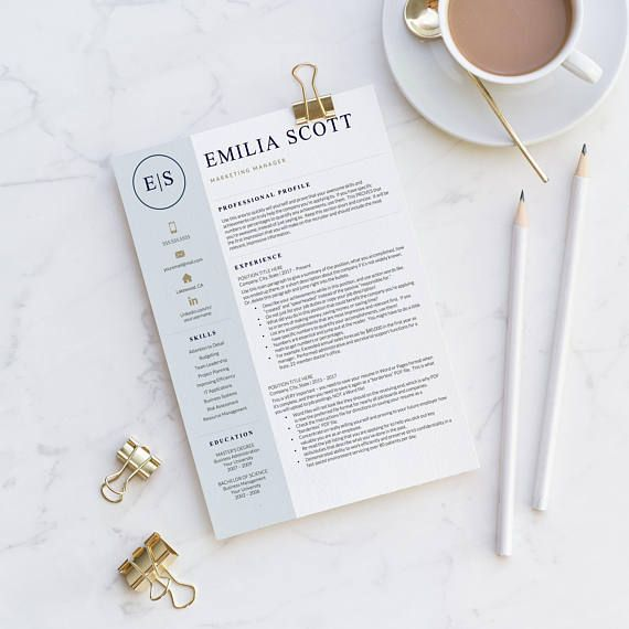 Professional, Modern Resume Template for Word & Pages: The Emilia with sophisticated navy, light blue and gold details. • 1, 2 and 3 Page Resume Templates, Cover Letter, References, Social Media Icons, Resume Writing Guide • Instant Download - your files are available immediately