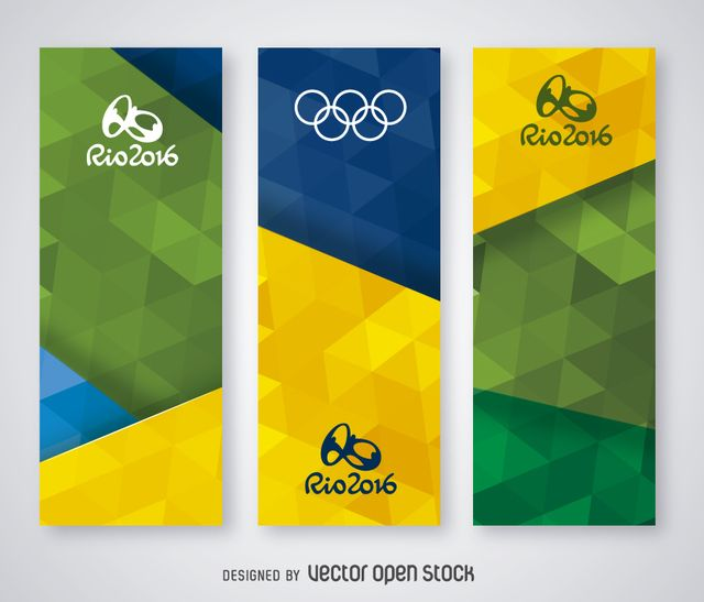 Set of 3 vertical banners with Brasil flag's colors and Rio 2016 logo. Special for Rio 2016 promotion, web banners and print promotions! Going to rio?