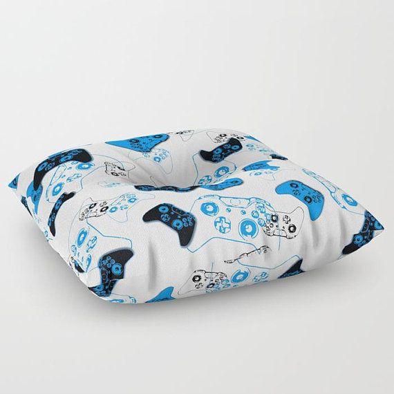 Video Game Pillow, Floor Pillow Seating, Gamer Pillow, Floor Pouf, Blue Gamer Room, Man Cave Pillows, Gamer Gift, Rec Room Gaming Pillow