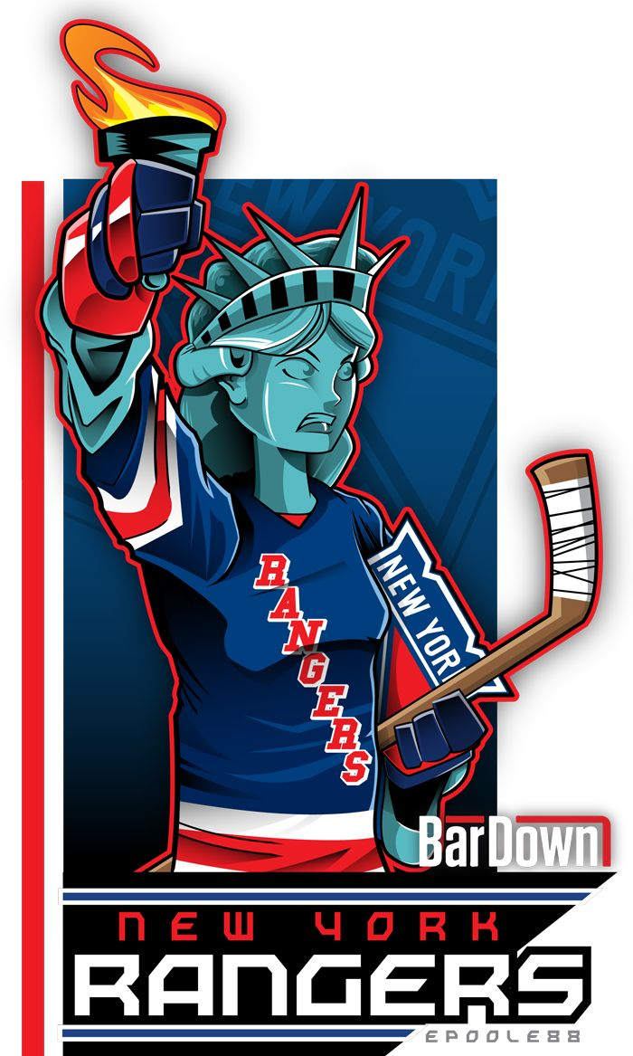 And here we get a look at the uniforms of the New York Rangers Ice Girls... Er, I mean Lady Liberty as rendered by Eric Poole.  More of his kickass work at http://epoole88.tumblr.com