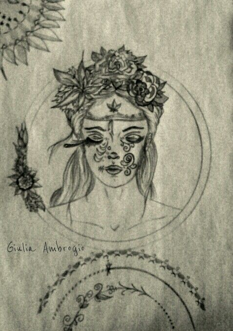 Tatuaggio floreale. Matita, carboncino, carta tinta nell'orzo.