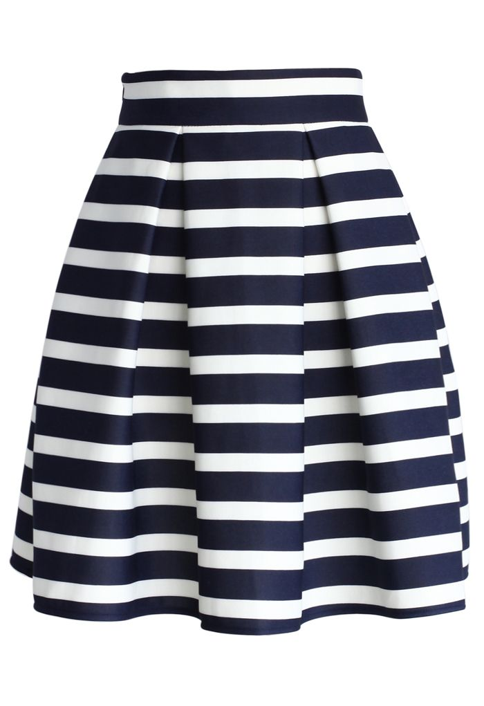 Navy Stripes Pleated Tulip Skirt - Skirt - Bottoms - Retro, Indie and Unique Fashion