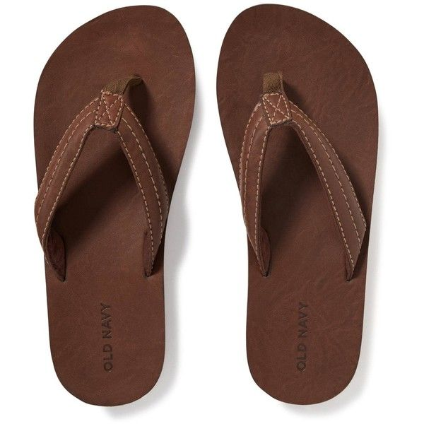 Old Navy Mens Faux Leather Flip Flops ($19) ❤ liked on Polyvore featuring men's fashion, men's shoes, men's sandals, men's flip flops, old navy mens shoes, mens sandals, mens vegan shoes, mens shoes and mens flip flops