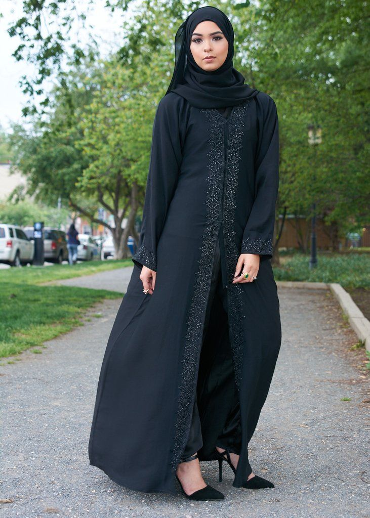 Lena Black Open Abaya – Little Black Abaya