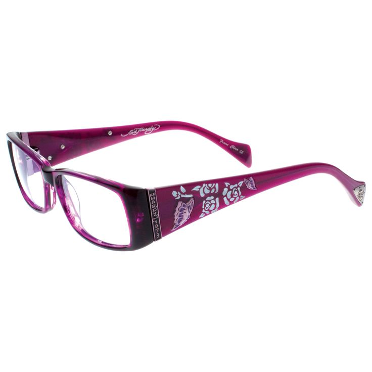 ed hardy eho 731 designer eyeglasses silver violet for women 847835002386