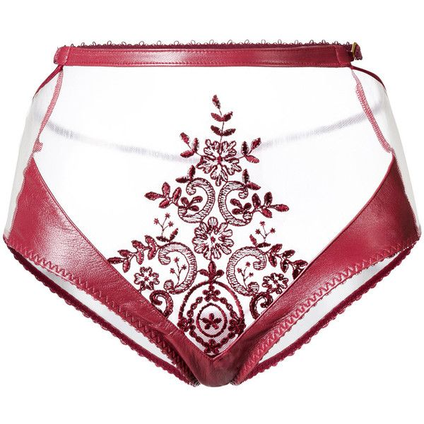 Loveday London Zerena high waisted brief ($112) ❤ liked on Polyvore featuring intimates, panties, red, transparent lingerie, real leather lingerie, leather lingerie, high-waisted lingerie and sheer lingerie