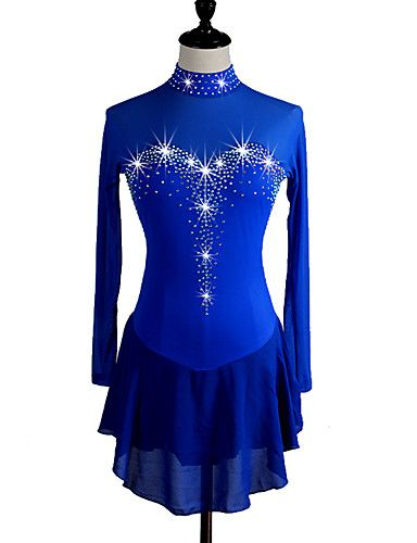 Figure Skating Dress Women's Girls' Ice Skating Dress Aquamarine Dark Navy Rhinestone High Elasticity Performance Skating Wear Handmade