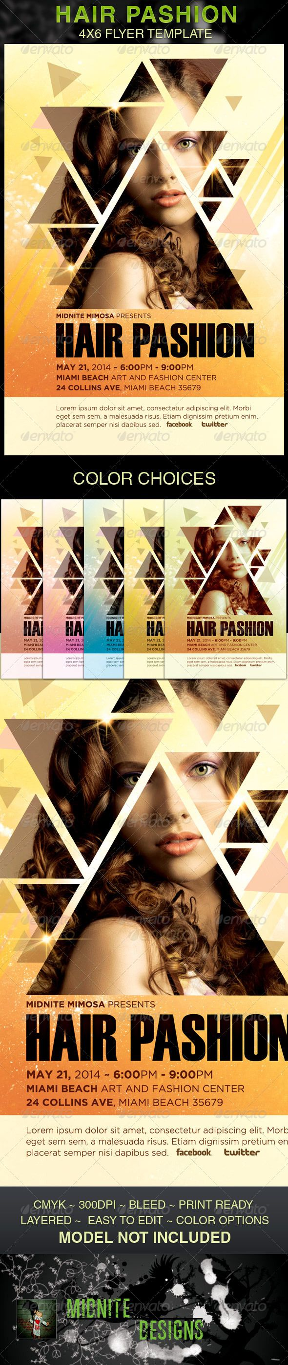 This Hair Pashion Flyer Template is customized for Hair and Fashion events, Hair Stylist Promotions, Party Events and Club Events, that need a modern and unique look. You can change colors and drop your photo in place with ease. Add this to your promotion package for a eye catching results with your contemporary audience. $6.00