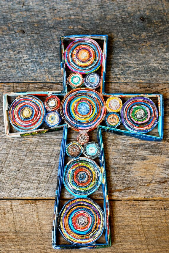 Cross Wall Hanging - Recycled Paper Cross  - Colorful Cross - Magazine Cross - Decorative Cross - Christian Gift  - Anchor of Hope Designs - Etsy $50.oo