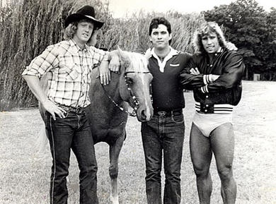 15. WWF Wrestling - The Von Erich family from east Texas - Kerry Von Erich (The Texas Tornado) on the right.    #KickinItAppleCheeks