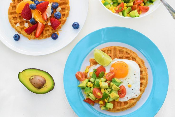 Sweet or Savoury Spiced Sweet Potato Waffles! These versatile waffles complement both sweet and savoury toppings: eat them for breakfast, lunch or dinner! Gluten-free and dairy-free variations included. #dreamingofalmonds #waffles #sugarfree
