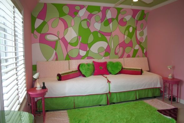 Teen girls room.  I like the look of the two twin beds making a long seating area. Idea for bonus room.