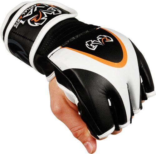 "Rival MMA Fighting Gloves, Regular by Rival. $48.99. Rival takes your MMA competition gloves to the highest level! A full layer of supple cowhide leather with more than 3/4"" of carefully selected high and low density foams to create the best amateur and professional fighting glove on the market. Open palm design is preferred by most elite athletes for instant offensive and defensive needs. Complete with wraparound leather wrist strap with hook-and-loop attachment for ..."