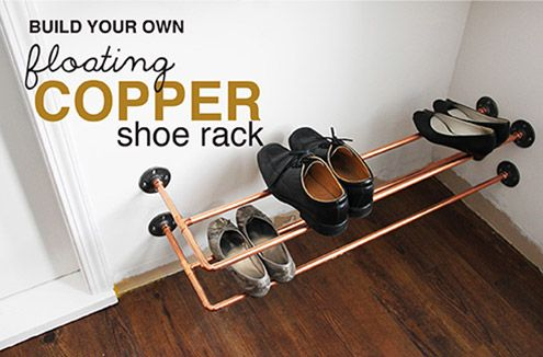 DIY: Copper Shoe Rack - I was having trouble finding a shoe rack that was attractive when in and out of use. I also really liked the idea of something wall moun…