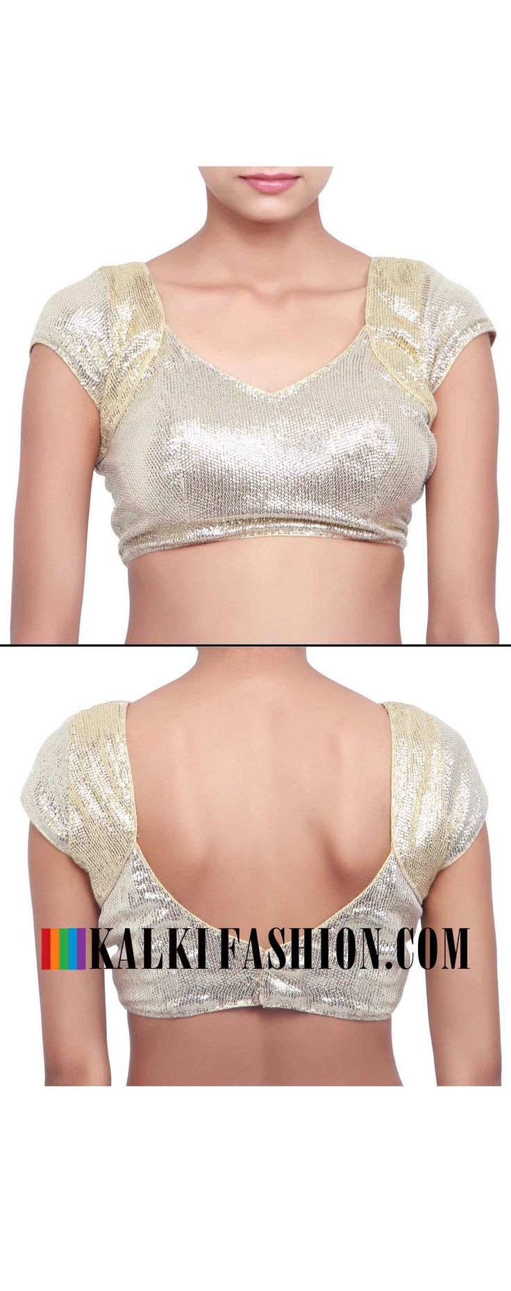 Buy online at: http://www.kalkifashion.com/gold-and-silver-sequence-blouse-only-on-kalki.html Free shipping worldwide.