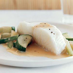 Sea Bass and Cucumbers in Champagne Sauce | MyRecipes.com