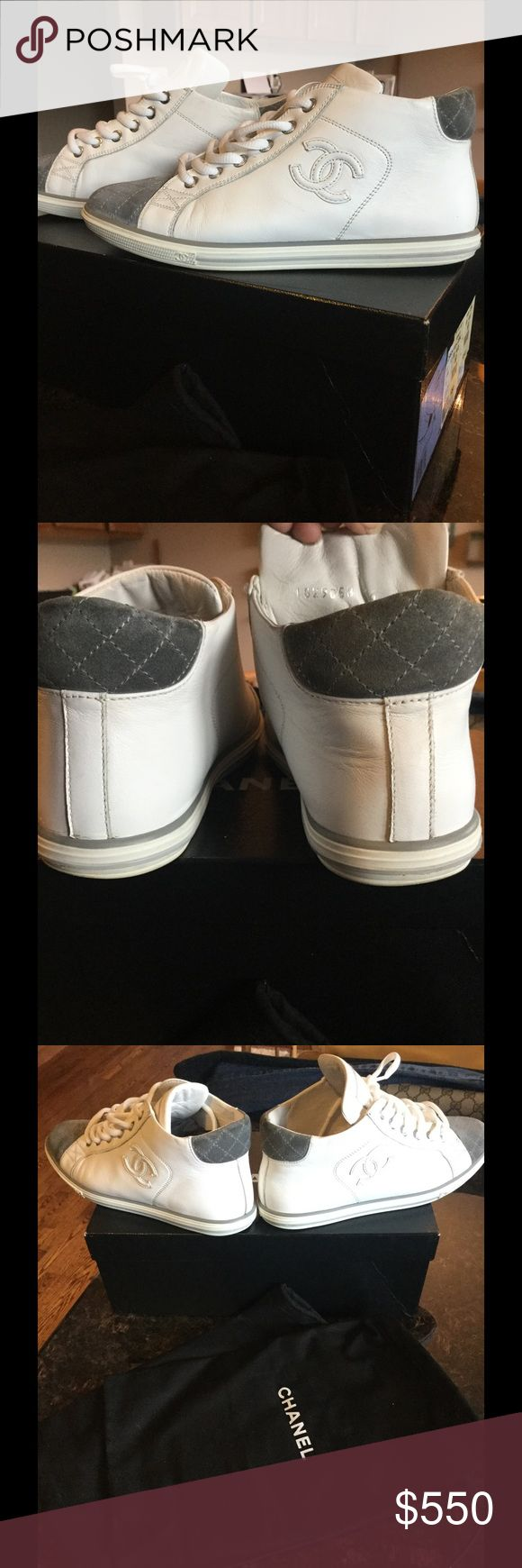 AUTHENTIC Chanel leather tennis shoes 100% authentic leather Chanel tennis shoes were worn one time they are absolutely gorgeous and they speak for themselves if you have any questions please feel free to ask thank you for looking and happy poshing CHANEL Shoes Athletic Shoes