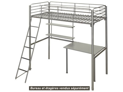 lit mezzanine 90x190 cm new line 4 coloris gris conforama 117 sans bureau tag res. Black Bedroom Furniture Sets. Home Design Ideas