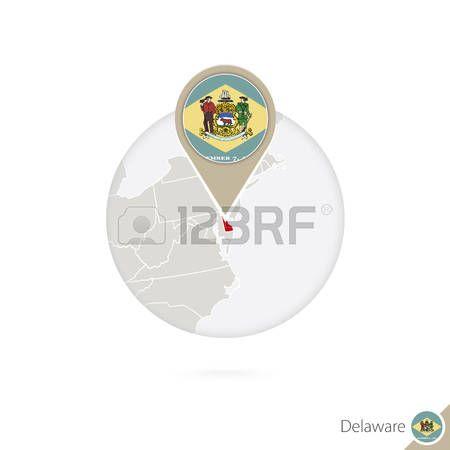 Mapa del estado de Delaware Estados Unidos y la bandera en círculo. Mapa de Delaware, Delaware pin de la bandera. Mapa de Delaware en el estilo del globo. Ilustración del vector.