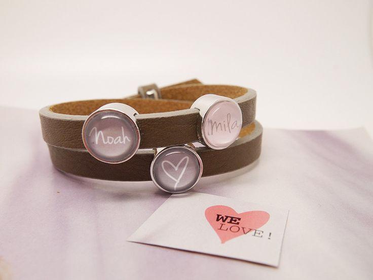 Namensarmbänder - Personalisiertes Lederarmband mit Wunschnamen - ein Designerstück von LilaZimtStern bei DaWanda