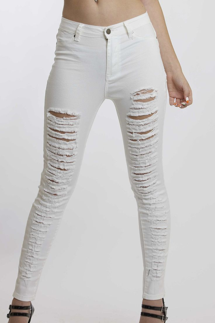 Sexy White High Waisted Jeans
