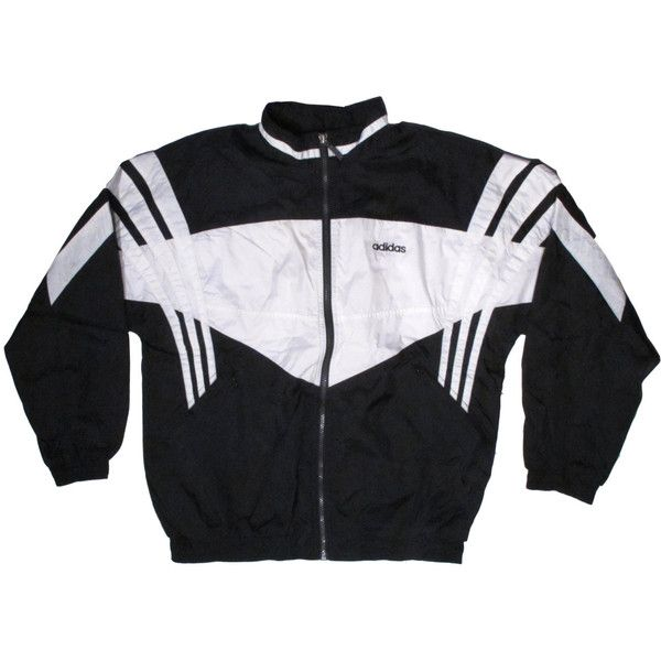 Vintage Adidas Black White WIndbreaker 3 Stripes Trefoil X-Large XL ($44) ❤ liked on Polyvore featuring outerwear, jackets, tops, coats & jackets, wind-breaker jacket, adidas, collar jacket, adidas jacket and vintage jacket