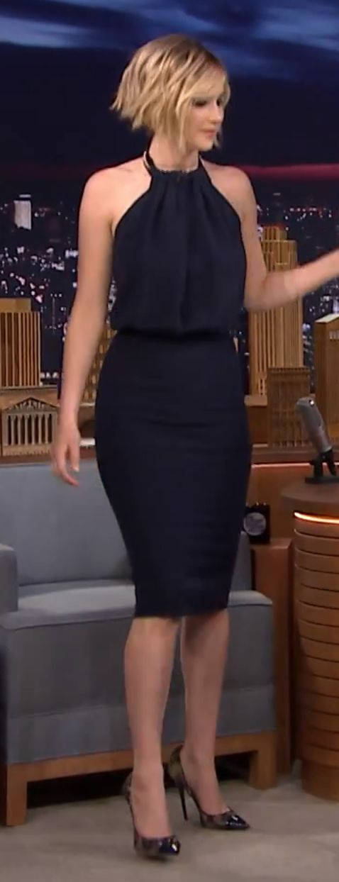 Jennifer Lawrence on Jimmy Fallon - dark navy blue dress with long pencil skirt and loose halter top. Form fitting but not inappropriate. So cute!!