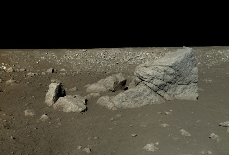 Chinese Academy of Sciences / China National Space Administration / The Science and Application Center for Moon and Deepspace Exploration / Emily Lakdawalla Yutu rover view of Pyramid Rock (Long Yan) This is a mosaic of six images captured by the Yutu rover on January 13, 2014, after it had driven southwest of the lander to visit a large block of impact ejecta that the team named Long Yan (Pyramid Rock).