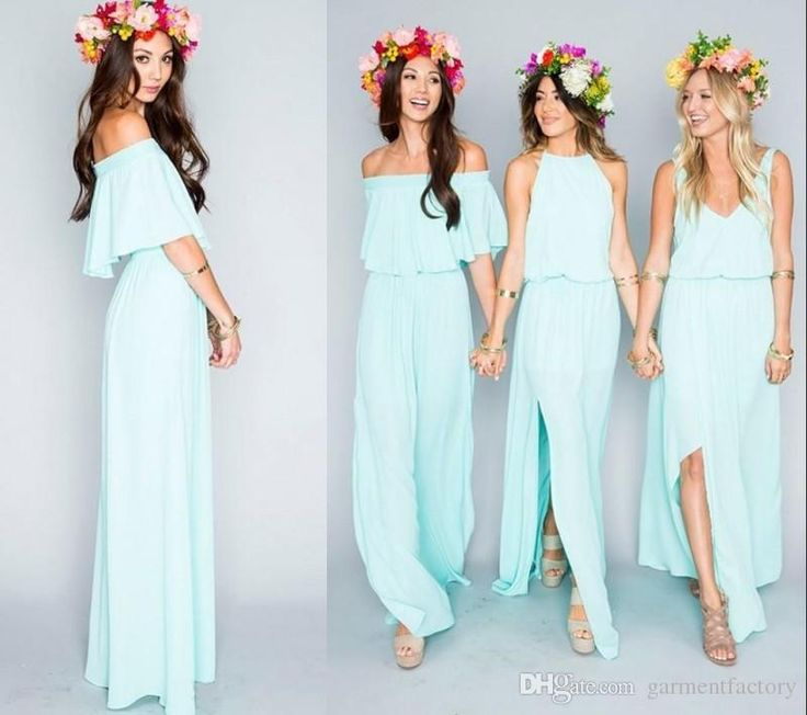 2016 New Fashion Bohemian Bridesmaid Dresses Long Three Mix And Match Style Drop Waist A Line Flowy Chiffon Boho Beach Wedding Dress Cheap Bridesmaid Dresses Glasgow Champagne Bridesmaid Dress From Garmentfactory, $84.43| Dhgate.Com