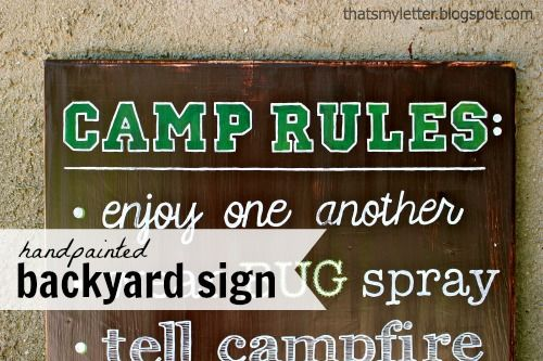 "That's My Letter: ""B"" is for Backyard Sign, handpainted camp rules sign"