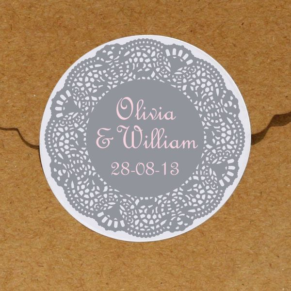 24 x Personalised Stickers - Doily Designs