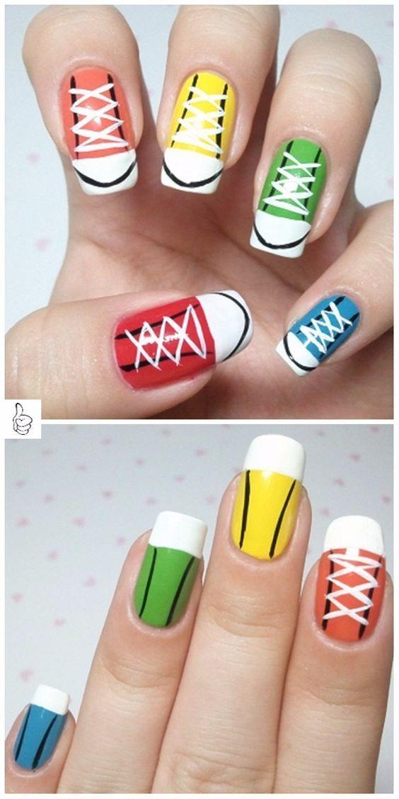 29edcb6f2dfe Sneaker Nail Art Manicure Design - DIY Rainbow Converse Nail Art Tutorial
