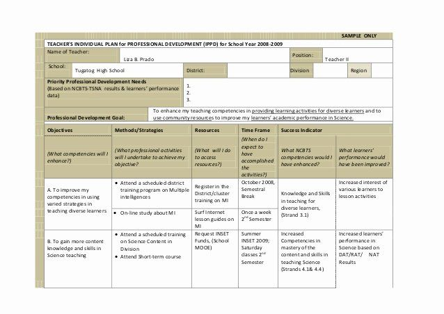 Professional Development Plan Sample For Teachers Beauti