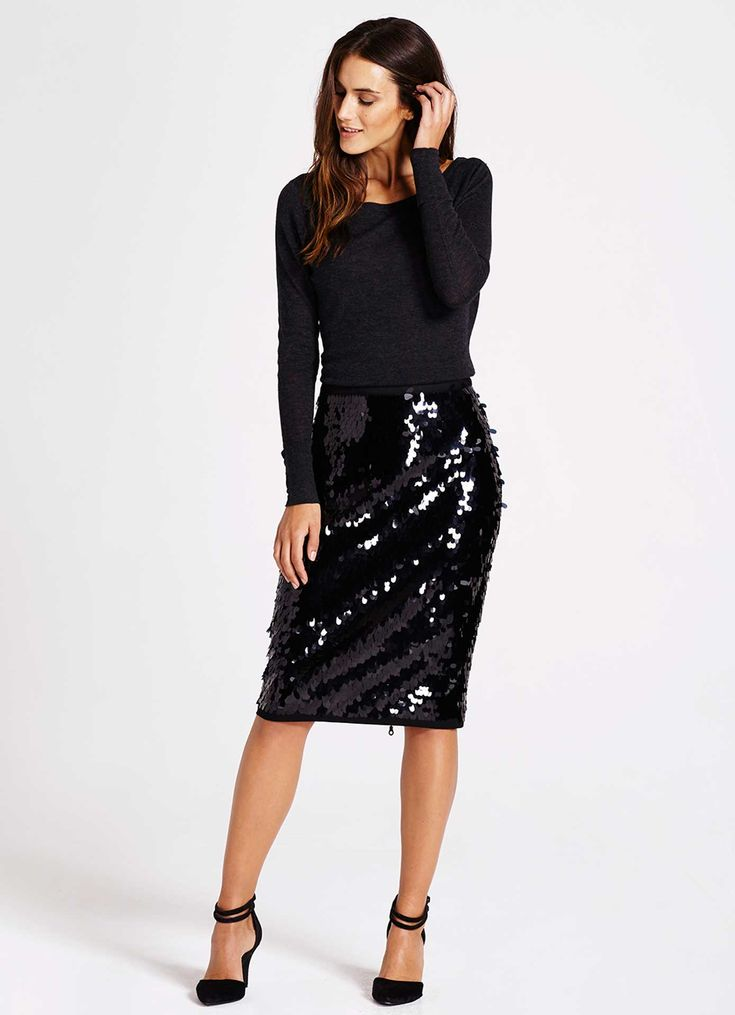 Black Sequin Pencil Skirt | Skirts | MintVelvet