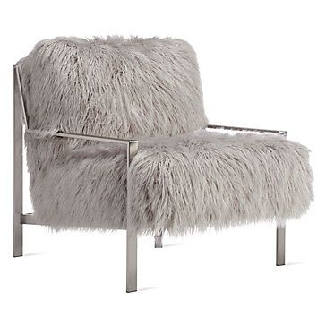 Axel Fur Accent Chair Brushed Silver Accent Chairs