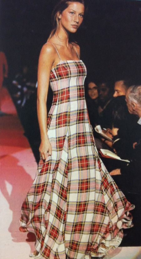 A young Gisele on the Tommy Hilfiger runway. Plaid is coming back...add black leather jacket or cream sweater with belt and what's old is new again.