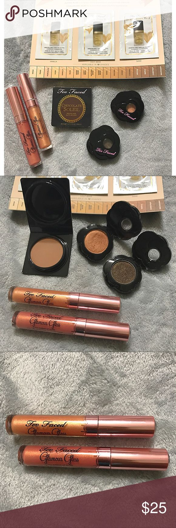 TOO FACED Eyeshadow, Bronzer & Lipgloss Lot Too Faced Eyeshadow, Bronzer & Lipgloss Lot. Authentic Too Faced cosmetics ordered direct from toofaced.com. Some items no longer sold. 2 shadows have been swatched, stored without box. 2 Lipglosses without boxes, tubes show signs of blemishes due to storage with other items in drawer, never used. Bronzer brand new, also never touched. 3 foundation samples included. Too Faced Makeup Eyeshadow