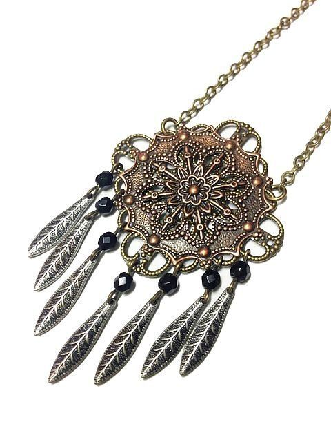 Feather Fringe Metal Filigree Necklace — Mary Grace Jewellery