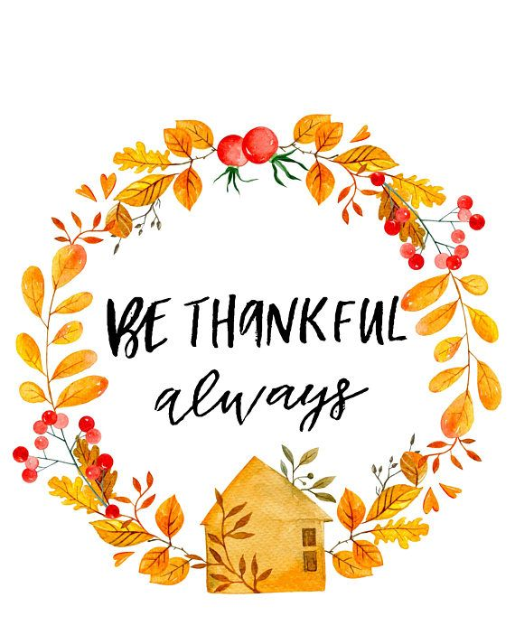 Thanksgiving Printable Wall Art Be Thankful Quote Print Instant
