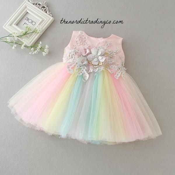ec35ed8f9f Baby Girl's Party Dress Pastel Rainbow 0/2T #baby #dresses #girl ...