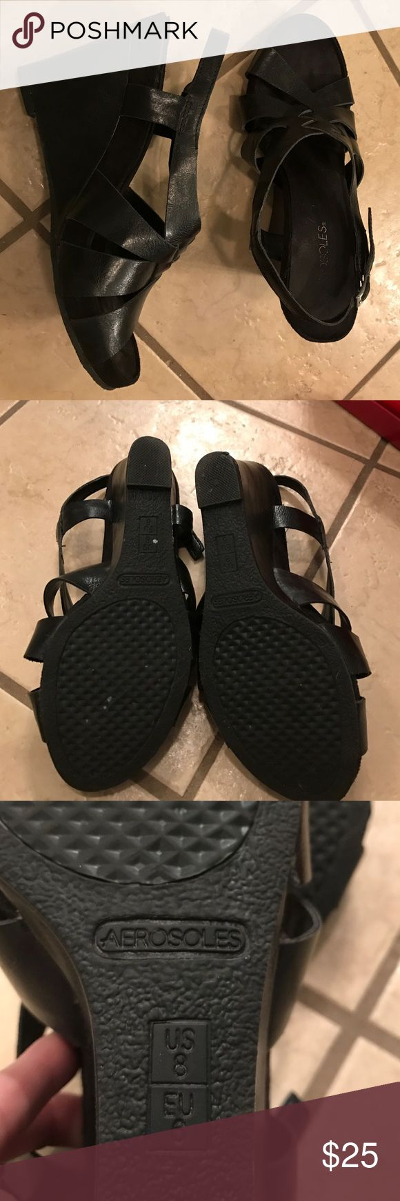 Black wedge dress shoes Black wedge Aerosole dress shoes. Very gently worn only a handful of times. No tears, ripes or marks. Smoke-free home. AEROSOLES Shoes Wedges