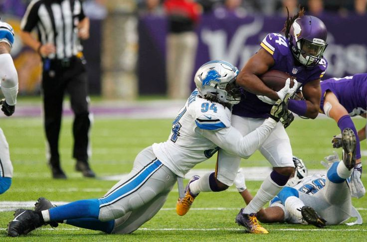 Lions vs. Vikings:  22-16, Lions  -  November 6, 2016  -    Minnesota Vikings wide receiver Cordarrelle Patterson (84) is tackled by Detroit Lions defensive end Ezekiel Ansah (94) during the second half of an NFL football game Sunday, Nov. 6, 2016, in Minneapolis.