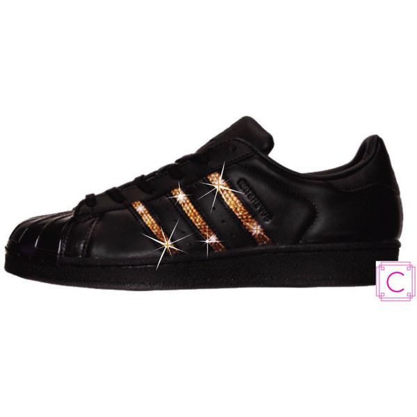 Women's Adidas Original Superstar black/black/black With Gold... ($145) ❤ liked on Polyvore featuring shoes, athletic shoes, grey, sneakers & athletic shoes, women's shoes, gold special occasion shoes, polish shoes, gray shoes, rose gold shoes and black sparkly shoes