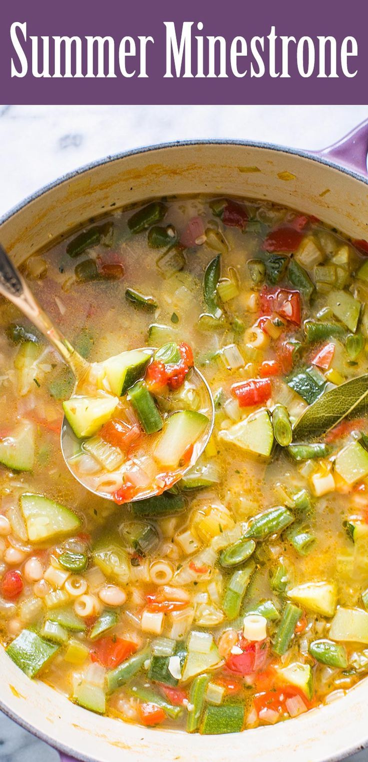 Minestrone soup featuring fresh summer garden vegetables! With zucchini, tomatoes, green beans, celery, bell pepper, chicken stock,…