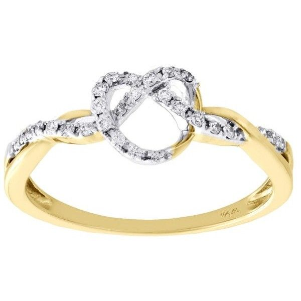 Pre-owned 10K Yellow Gold with 0.13ct Diamond Infinity Love Knot... (360 AUD) ❤ liked on Polyvore featuring jewelry, rings, diamond jewellery, gold jewellery, gold infinity ring, yellow gold rings and yellow gold infinity ring