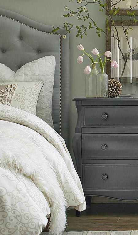 Lux Bedroom With Gray Headboard And Dresser Bassett Furniture Hgtv