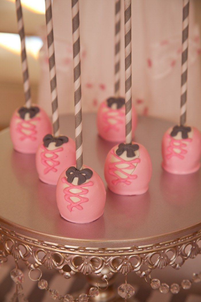Darling CAKE POPS from this Ballerina Themed 5th Birthday Party with Lots of Really Cute Ideas via Kara's Party Ideas KarasPartyIdeas.com #ballerinaparty #balletparty #...