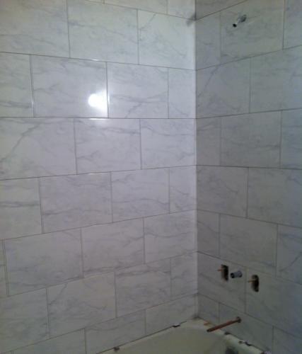 220 best images about bathroom on pinterest toilets for Horizontal tile shower